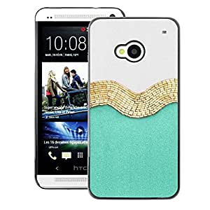 A-type Arte & diseño plástico duro Fundas Cover Cubre Hard Case Cover para HTC One M7 (Gold White Fashion Shiny Fashion)