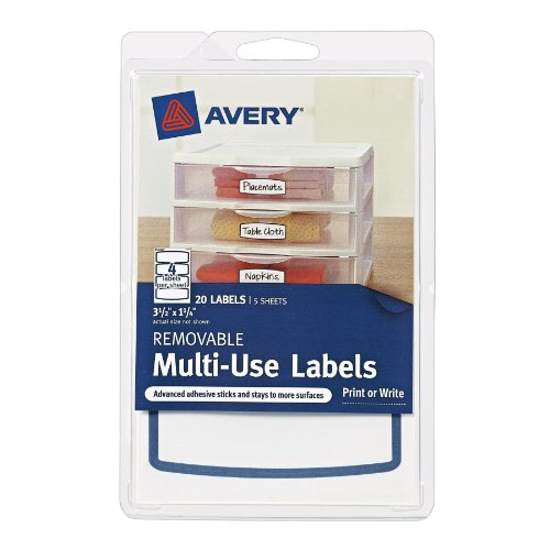 Hot Avery Removable Multi-Use Labels, Blue Border, 3.5 x 1.25 Inches, Pack of 20 (41446) for sale