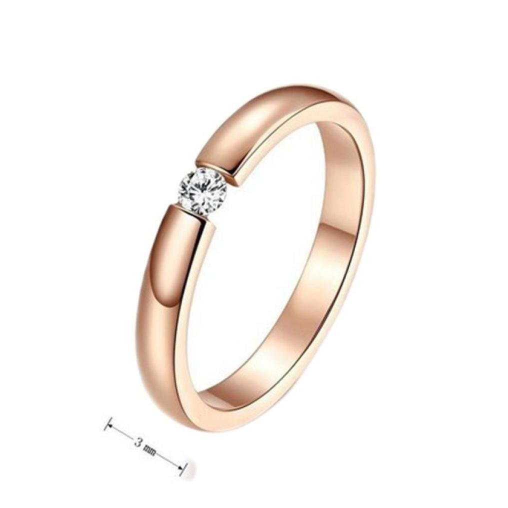 1pc Stylish Simple Single Diamond Rose Gold Surface Rings for Lover Nmch Womens Rings