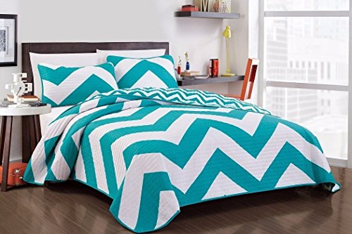 3-Piece Teal White Reversible Chevron Zig Zag Quilted
