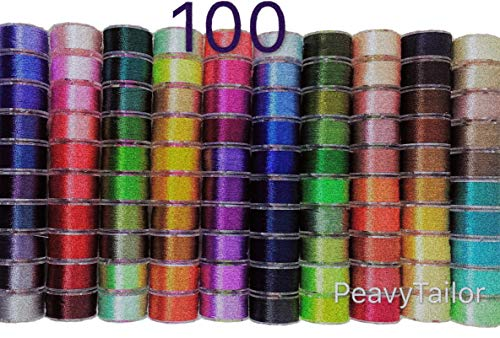 (PeavyTailor 100 Colors Prewound Sewing Thread Bobbins Specialty Threads Master Set .)