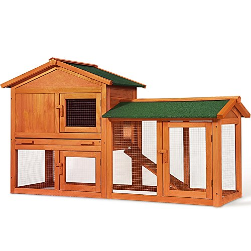 Merax Chicken Coop Rabbit Hutch Wood House Pet Cage for...