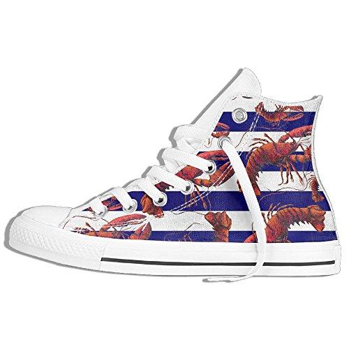 Aragosta High Top Classico Scarpe Di Tela Moda Sneaker Bianco