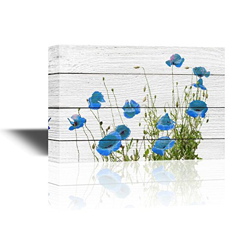 Small Blue Flowers on Rustic Wood Background