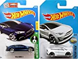 Hot Wheels 2017 New Casting All White Model X #196 Factory Fresh SUV Tesla Model S Blue Best for track #242 Green Speed 2 car bundle in Protective Cases