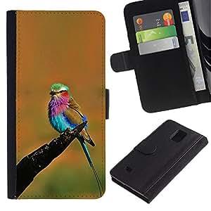 LASTONE PHONE CASE / Lujo Billetera de Cuero Caso del tirón Titular de la tarjeta Flip Carcasa Funda para Samsung Galaxy Note 4 SM-N910 / orange vibrant colorful bird summer