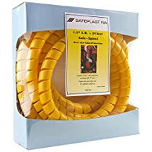 "Pre-Cut Spiral Wrap Hose Protector, 1.25"" OD, 20' Length, Yellow"