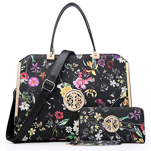 DASEIN Women Large Satchel Handbag Shoulder Purse Top handle Work Bag Tote With Matching Wallet (Black Flower)