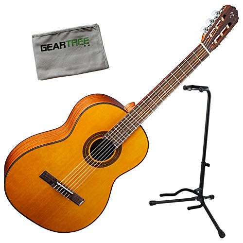 Takamine GC1 NAT Natural Classical Acoustic Guitar Bundle - Stand Nylon Guitar