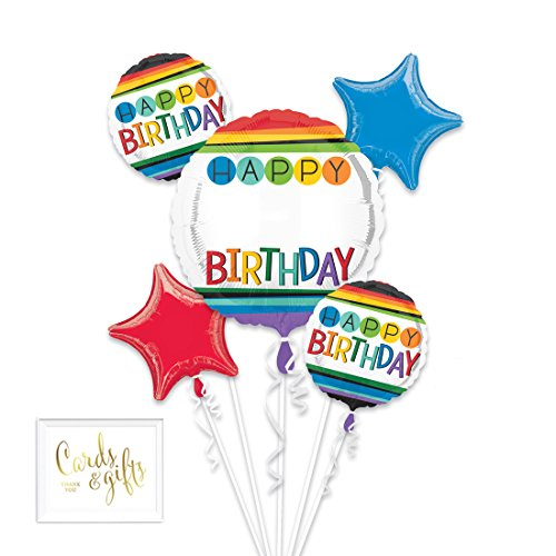 Andaz Press Balloon Bouquet Party Kit with Gold Cards & Gifts Sign, Rainbow Bday Personalize Foil Mylar Balloon Decorations, -
