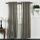 Piper Classics Farmhouse Cotton Ruffled Panel Curtains, Set/2, 40″ x 84″, Taupe-Grey, Embroidered Cotton Ball Garland, Farmhouse Drapes For Sale