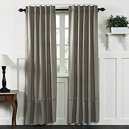 Farmhouse Cotton Ruffled Panel Curtains Set 2 40 X 84 Taupe