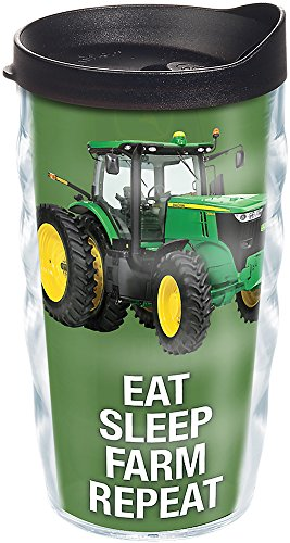 Tervis 1274087 John Deere - Colossal Tractor Tumbler with Wrap and Black Lid 10oz Wavy, Clear