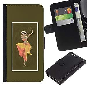 iBinBang / Flip Funda de Cuero Case Cover - Indian Woman Dress Dance Attire Pose Sign - Apple Iphone 6 PLUS 5.5