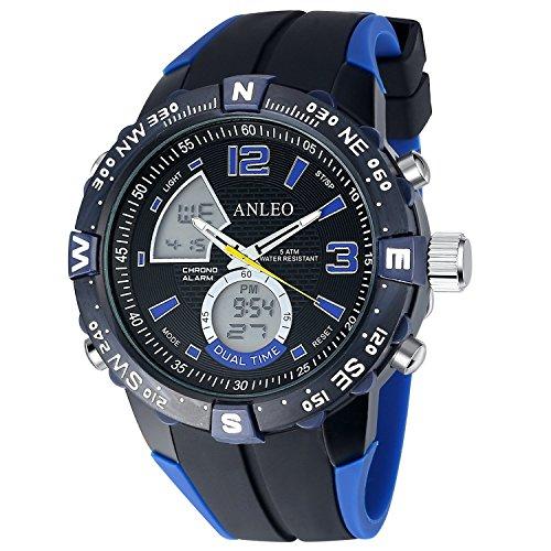 ANLEOWATCH 1PCS Blue Watch Relogio Masculino Men Sports Watch Analog Digital Display 5ATM Waterproof Japan Quartz Military Watches