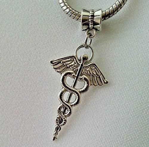 Pendant Jewelry Making Medical Caduceus Symbol Doctor Nurse RN MD Dangle Charm Bead European Bracelet