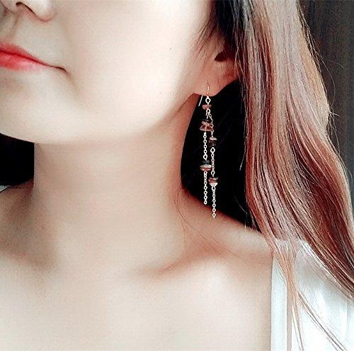 Original tourmaline crystal earrings tassel earrings long section of female Korean Korean temperament sexy earrings hypoallergenic ()