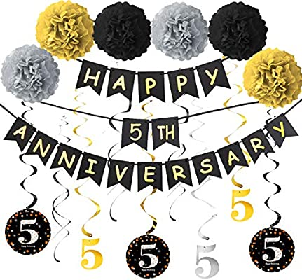 Amazon Com Yoaokiy 5th Anniversary Decorations Kit 5th Wedding Anniversary Party Decorations Supplies Including Gold Glitter Happy 5th Anniversary Banner 9pcs Sparkling 5 Hanging Swirl 6pcs Poms Health Personal Care