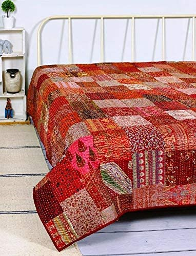 INDIAN BEDSPREAD TAPESTRY BEDDING KANTHA QUILTS BLANKET THROW VINTAGE DECOR ART