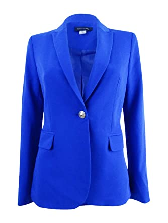a2d50823 Image Unavailable. Image not available for. Color: Tommy Hilfiger Women's  One Button Notch Lapel Blazer Blue 10