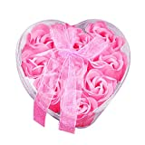 Jocund 9Pcs Heart Scented Bath Soap Rose Flower Petals,Plant Essential Oil Rose Soap Set Guest Soap Shaped Petals Best Gifts Ideas for Her Women Teens Girls Mom Birthdays