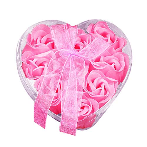 Ackful9Pcs Heart Scented Bath Body Petal Rose Flower Soap Wedding Decoration Gift Best (Pink) (Rose Petal Scented Bath)