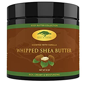 (8 oz) Vanilla Whipped African Shea Butter Cream - Pure 100% Raw All Natural Organic Moisture for Soft Skin and Natural Hair - Body Butter Improves Blemishes Stretch Marks Scars Wrinkles & Eczema