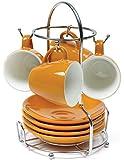 IMUSA USA A120–22182t 8piezas Espresso taza de café con estante Juego, Naranja