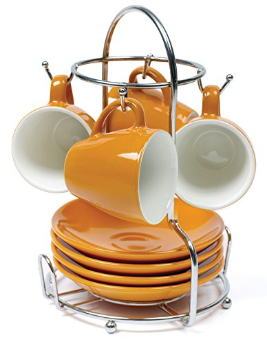 IMUSA USA A120-22182T 8-Piece Espresso Coffee Cup with Rack Set, Orange