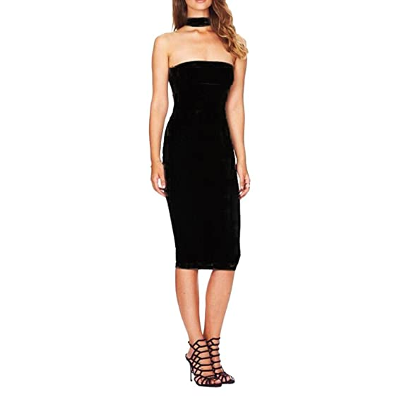 JYE Womens Solid Sleeveless Halter Bandage Midi Wrap Dress Prom Gown Party Clubwear