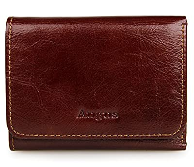 Augus Trifold Leather Wallet for Man RFID Blocking Wallet with Double ID Window