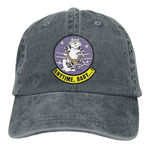 Mens Cotton Washed Twill Baseball Cap US Navy F-14 Tomcat Squadron Hat
