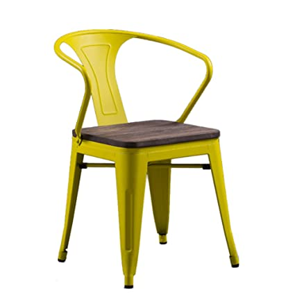 Decorative Stool Retro Iron Chair, Industry Colorful Solid Wood Seat Metal  Dining Chair Furniture Creative