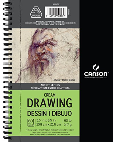 Canson Artist Series Cream Drawing Paper Pad, Side Wire Bound, 90 Pound, 5.5 x 8.5 Inch, Cream, 60 - Paper Drawing Cream
