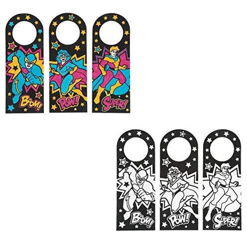 Kids Party Favors Crafts Color Your Own Superhero Doorknob Hangers Set of 24 ()