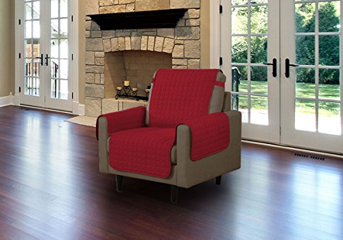 Microfiber Pet Furniture Protector Cover With Tucks And Straps, Burgundy, Chair (Red Microfiber Sofa)