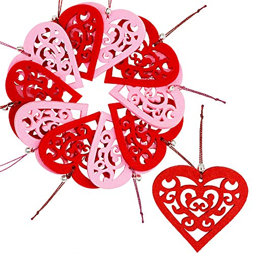 10 Set Valentine's Day Hanging Felt Heart Ornaments Red and Pink Heart Shaped Cutouts 2.4