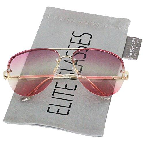 Elite Gradient Oceanic Lens Oversized Rimless Metal Frame Unisex Aviator Sunglasses (Gold Purple-Pink, 2.5)
