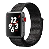 TiMOVO Band for Apple Watch 42mm, Soft Nylon Weave Sport Loop Replacement Band Strap with Adjustable Hook and Loop Fastener for iWatch 42mm Series 3 Series 2 Series 1, Black