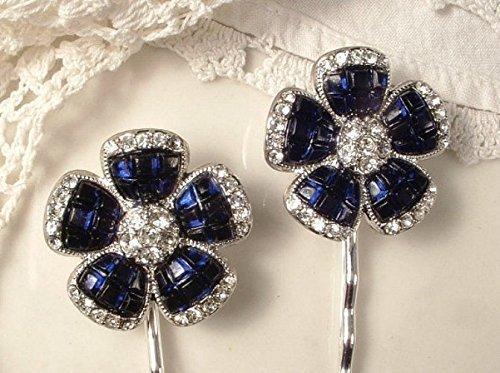 Montana Silver Plated Plates (Sapphire Navy Blue Rhinestone Art Deco Silver Bridal Hair Pins, Something Blue Vintage Keepsake Bobby Pins Set of 2 Bridesmaids Wedding Gift Clip)
