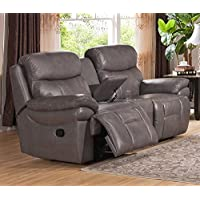 Amax Leather Summerlands Leather Reclining Loveseat with Console, Smoke Grey