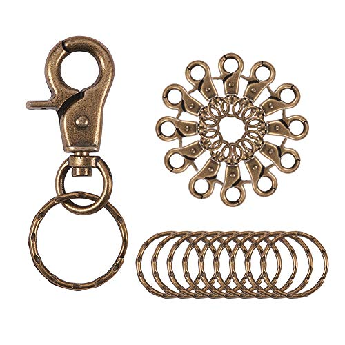 - PandaHall Elite 10 Pieces Iron Lobster Claw Clasps Swivel LanyardsTrigger Snap Hooks Strap with Flat Split Key Rings for Keychain, DIY Bags and Jewelry Findings Antique Bronze