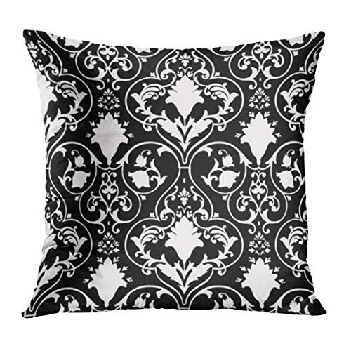 LOULNN Throw Pillow Cover Fleur Antique Scroll and Lis Black LYS White Damask Decorative Pillow Case Home Decor Square 16x16 Inches Pillowcase