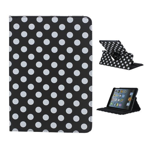 iPad Mini case,iPad Mini 2 Case,iPad Mini 3 Case FOGEEK Lovely Polka Dots Pattern 360 Rotating Swivel Stand Leather Case Cover for iPad Mini / Mini 2 / Mini 3 with Auto Sleep/Wake Function (Black)