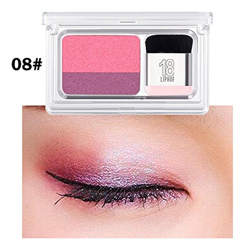 2 Color Lazy Eye Shadow Powder Rainbow Shimmer Makeup Beauty