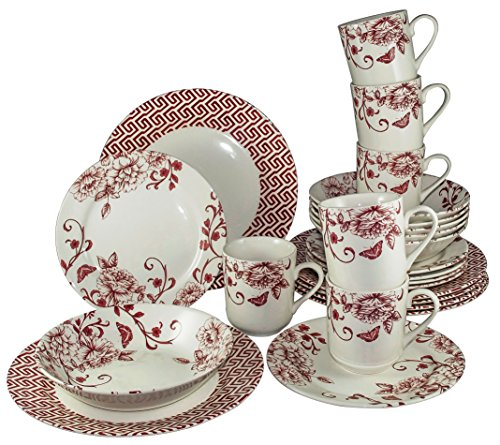 Tudor 24-Piece Porcelain Dinnerware Set, Service for 6 - DECO CHIC, Royal Red Chic collection; Special OFFER; See 10 Designs (8 Inch Birth Plate)