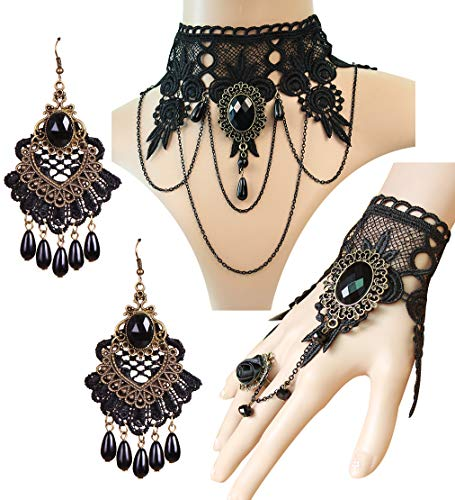 IBBM I WILL BE YOUR BEST MEMORY Black Choker Lace Necklace with Bracelet and Earrings Set - Punk Party Gothic Vintage Accessories for Women