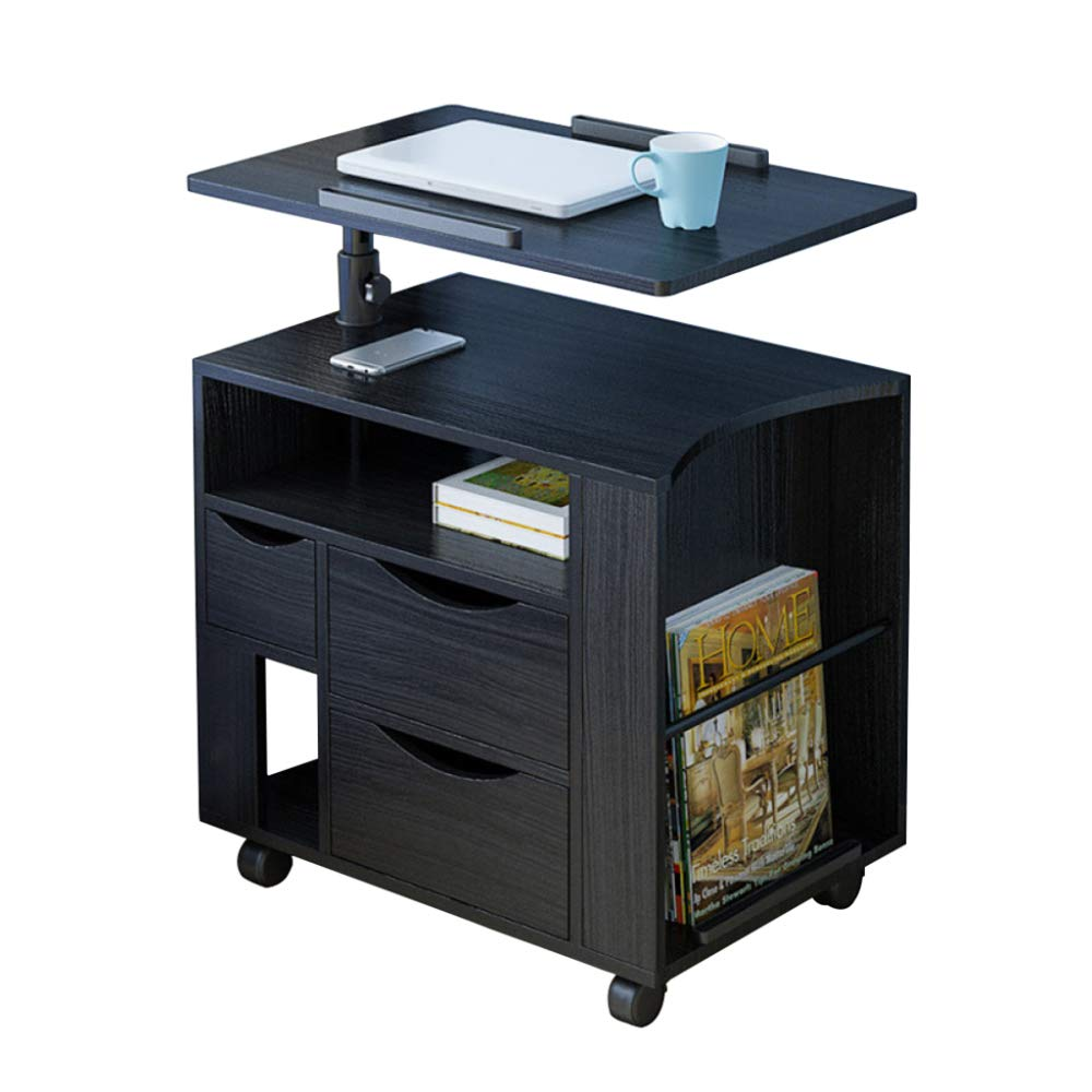 LIULIFE Mobile Computer Desk with Multi-Tier Storage Bedside Table Home Sofa Writing Desk, Two-Way Pull-Out Drawers,Black by LIULIFE (Image #1)