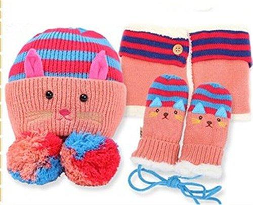 Winter Warm Girl Wool Hat/Scarf/Gloves Set Knitted Hat Scarf/Bib Mitten (Unique Hats Gloves)