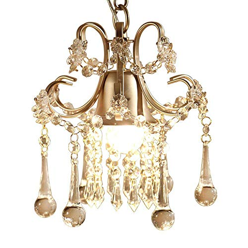 (YEXIN American Chandelier Country Creative Bedroom Pendant Light Personality Simple Crystal Single Head Lamp Aisle Balcony Porch Gold-Plated Ceiling Lamp )